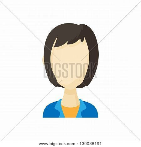 Avatar kare haircut woman icon in cartoon style. Faceless girl isolated on white background