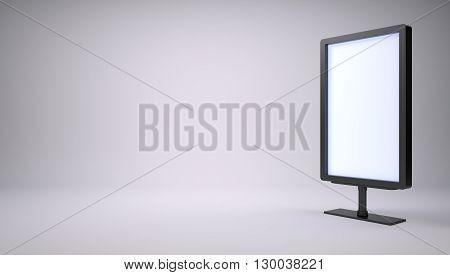 Black lightbox in empty studio. Right side. Gray gradient background. 3D rendering