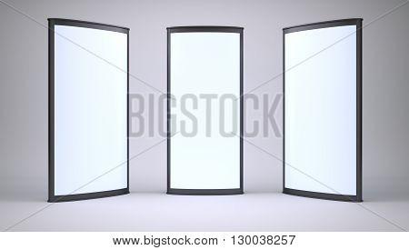 Lightboxes in empty gray studio. 3d render