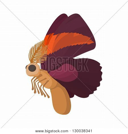 Maroon butterfly with spots on wings icon in cartoon style isolated on white background