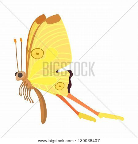 Yellow butterfly with orange spots on wings icon in cartoon style isolated on white background