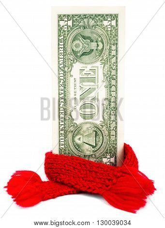 Recovering finances, One dollar banknote with red scarf isolated on white