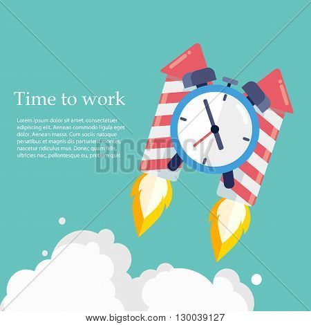 Time to work. Time is running out. Clock on the Rocket soaring up .Vector Design