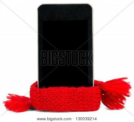 Smartphone with red scarf. Service concept. Isolated on white