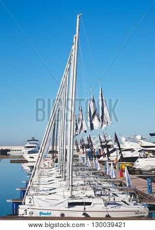 SOCHI, RUSSIA - 09 MARCH, 2016. Yachts in Sochi port. The small sports yachts built in a row.
