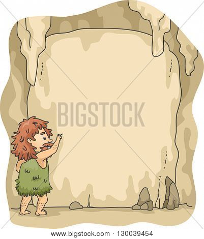 Frame Illustration of a Caveman Writing on Cave Walls