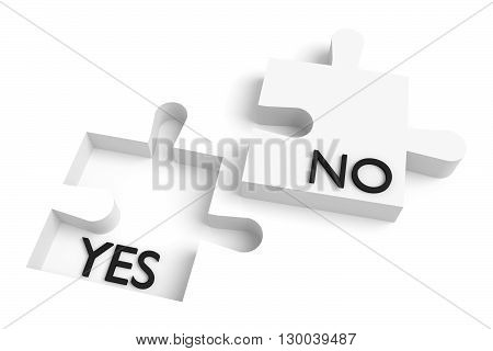 Missing puzzle piece yes or no white, 3d illustration