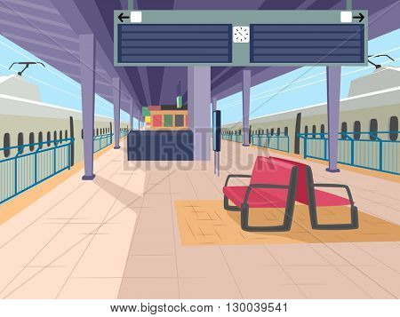 Illustration Featuring an Empty Train Station