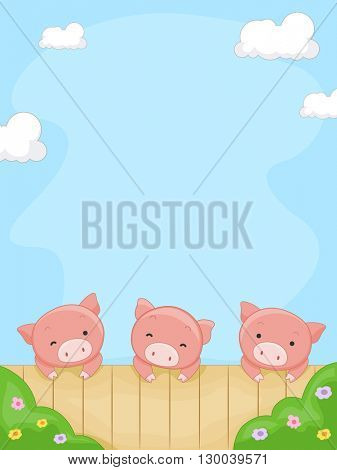 Frame Illustration Featuring Pigs Peeking from the Fence