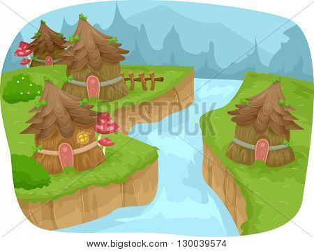 Whimsical Illustration Featuring a Fairy Village