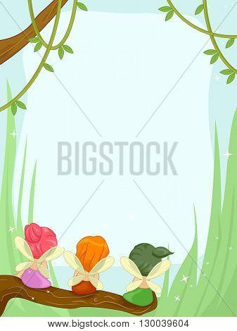 Frame Illustration Featuring Cute Little Fairies