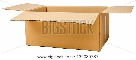 Open brown cardboard box. Front view. Isolated on white background