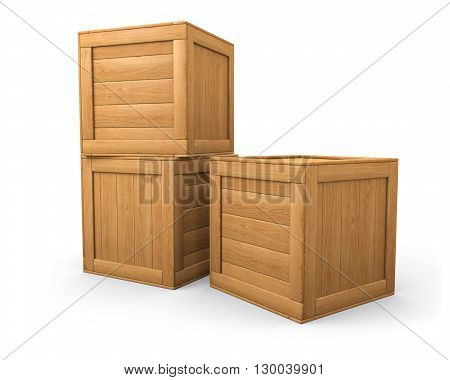 A pile of two and one wooden boxes isolated on white