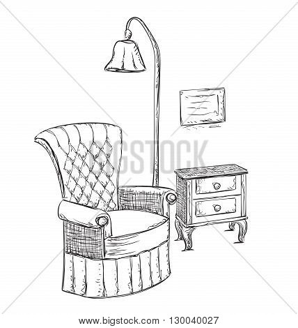 Hand drawn room interior. Reading place sketch. Chair and lamp.