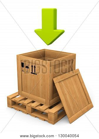 Download concept. Open wooden box witn lid on pallet. Green arrow. Isolated on white.