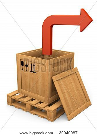 Extract concept. Open wooden box witn lid on pallet. Red bent arrow. Isolated on white.