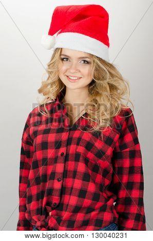 Cristmas Happy Woman In Santa Claus Hat