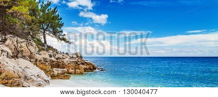 Panorama of seascape with greek Marble Beach in Thassos Island, Greece with turquoise water and pine trees