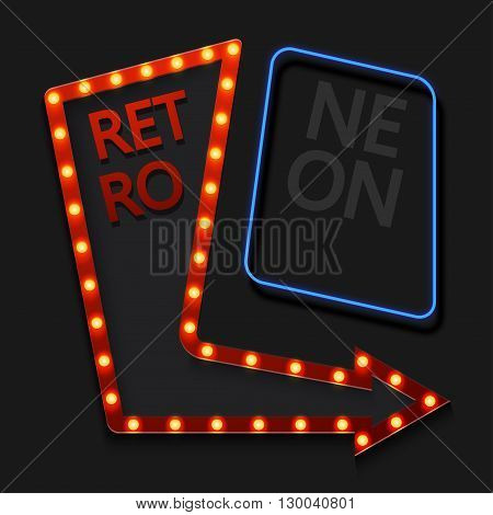 Vector retro arrow with light bulb on black background