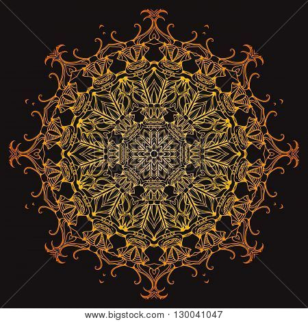 Golden doodle mandala. Vector element for tattoo sketch printing on T-shirts postcard and your design. Element for yoga studio and spa