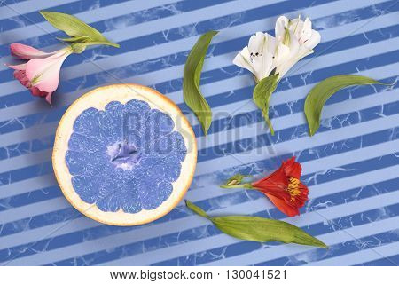 Blue grapefruit with flowers on a striped background top view. Popart style fruit on a striped background in light blue and dark blue.
