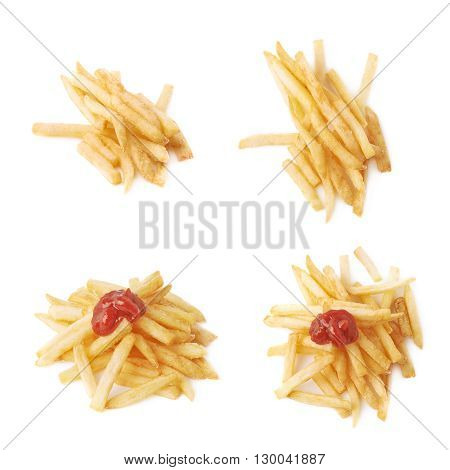 Pile of cooked golden yellow french fries potatoes isolated over the white background, set of four different foreshortenings, with and without ketchup