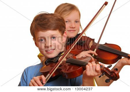 Two Kids Playing Violin