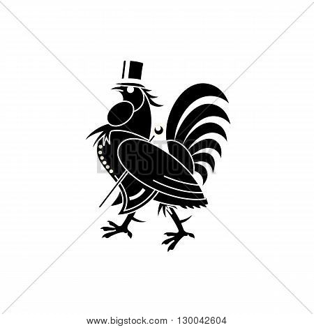 Mister rooster with hat and stick silhouette vector illustration isolated on white background.
