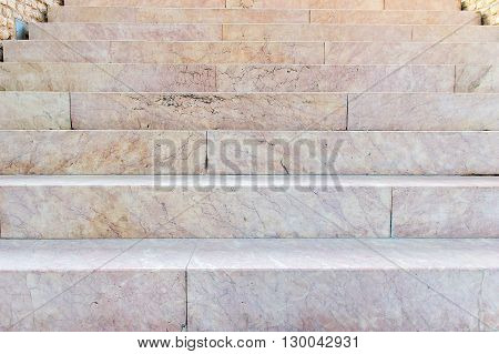 bottom view of the ancient marble stairs