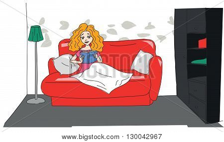 Illustration of a Teenage Girl Reading a Book