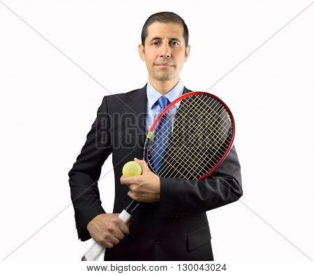 portrait of business man holding a racket tennis against white background