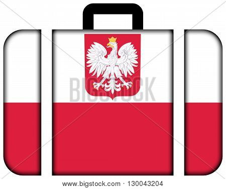Flag Of Poland With Coat Of Arms. Suitcase Icon, Travel And Transportation Concept