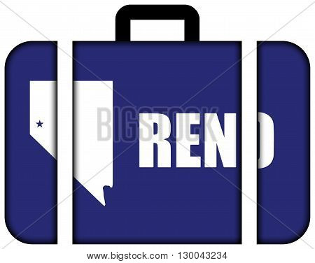 Flag Of Reno, Nevada. Suitcase Icon, Travel And Transportation Concept
