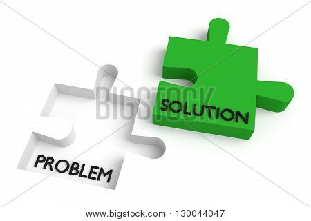 Missing puzzle piece problem and solution green, 3d illustration