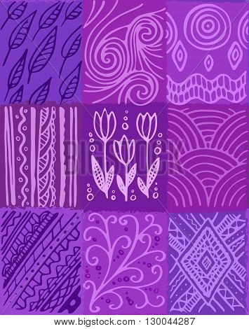 Vector abstract seamless pattern, hand drawn patchwork design, violett shades. Design for textile and wrapping paper.