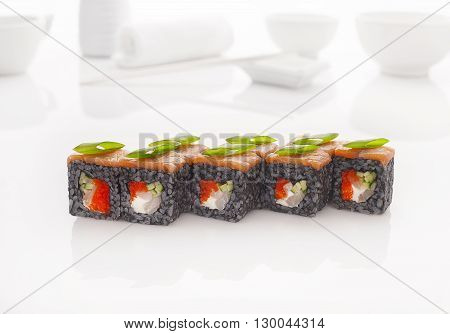 Japanese seafood  sushi roll a white background