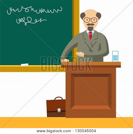 An elderly Professor with glasses is giving a lecture near the school boards. Color flat illustration on white background. Vector picture.