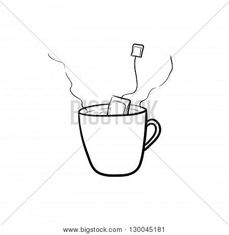 Tea Brewing, a hand drawn vector illustration of tea brewing.