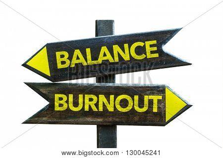 Balance - Burnout crossroad isolated on white background