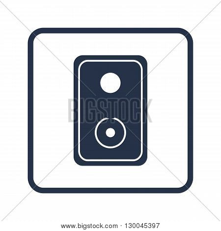 Speaker Icon In Vector Format. Premium Quality Speaker Symbol. Web Graphic Speaker Sign On Blue Roun