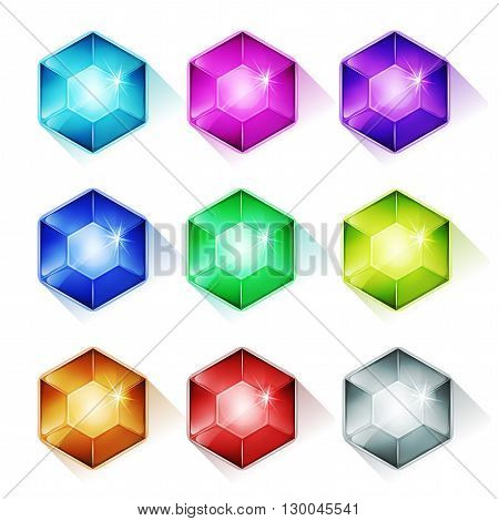 Illustration of a set of glossy and bright cartoon gems stones diamonds minerals crystal jewels and assets icons for luxury imagery and puzzle game ui