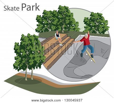 sketch of the skate Park with benches and people in the circle