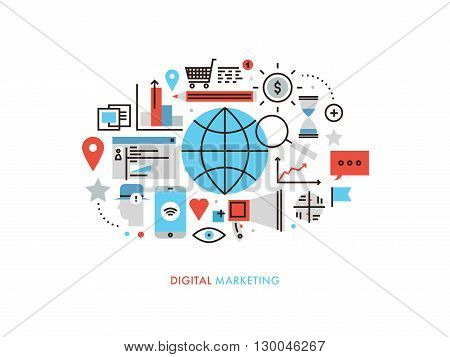 Thin line flat design of worldwide services of digital marketing technology new market trends analysis search optimization planning. Modern vector illustration concept isolated on white background.