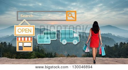 Digital shopping diagram on a white background against composite image of woman standing with shopping bags