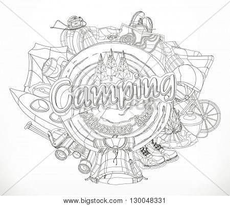 Camping, adventure time vector illustration, black and white pattern, lines