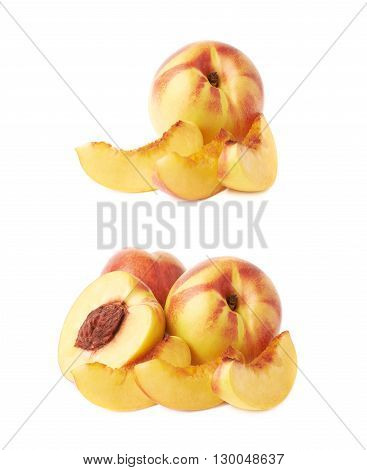 Ripe nectarine fruit composition, isolated over the white background, set of two different foreshortenings