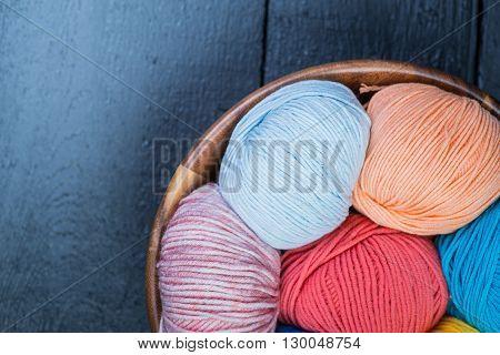 Colorful Knitting Yarn Balls In Basket