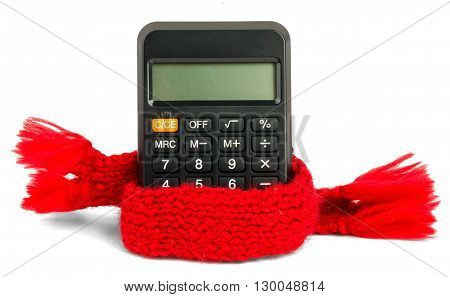 Black calculator wearing scarf, isolated on white background