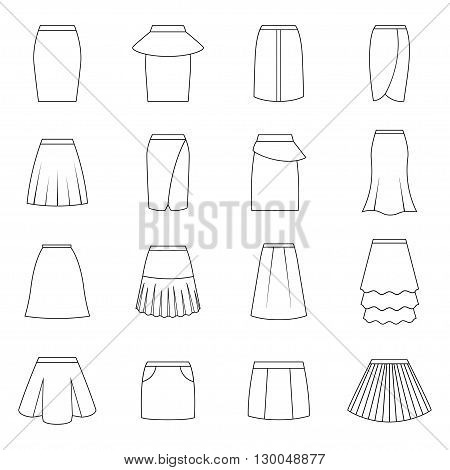 Set of skirts on white background, vector illustration