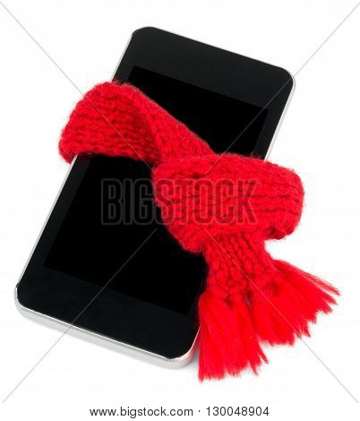 Recovering phone. Smartphone with red scarf. Service concept. Isolated on white